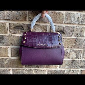 NWT Michael Kors Karla Satchel Handbag in Damson